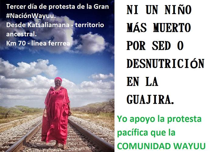 Cuarto día de Protesta Pacífica de la Nación Wayúu en la vía férrea de El Cerrejón