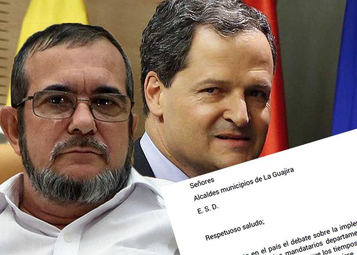 La carta de las Farc a los 15 alcaldes de la Guajira que enfrentó a Timochenko y Sergio Jaramillo
