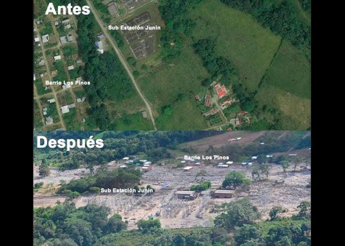 Las fotos aéreas que muestran el antes y el después de la tragedia en Mocoa, Putumayo