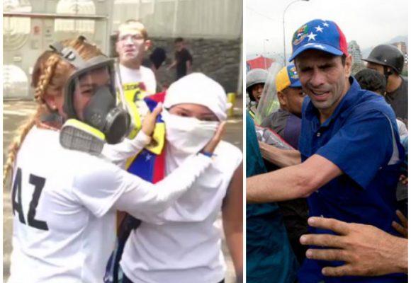 Henrique Capriles ahogado por los gases y Tintori protegida por una máscara: Desde Twitter informan qué pasa en Venezuela