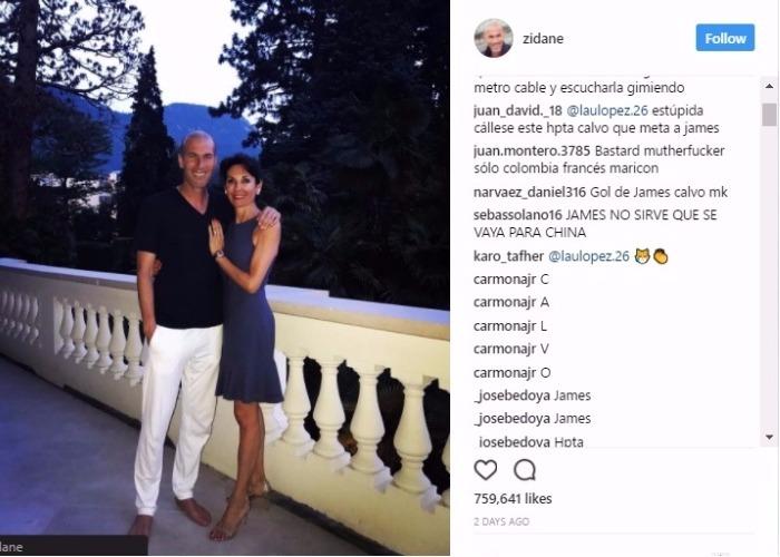 """""""Gol de James calvo care chimba"""" El bullying de los colombianos a Zidane en Instragam"""