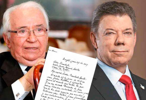 """""""Usted señor Presidente está en la historia"""", la carta de Belisario Betancur a Santos"""