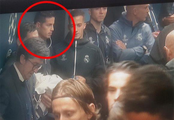 La cara de rabia y tristeza de James Rodríguez en la final de la Champions