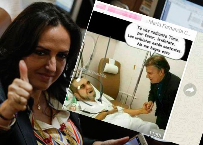¿Otro lapsus de María Fernanda Cabal? La burla a Timochenko en un grupo de Whatsapp