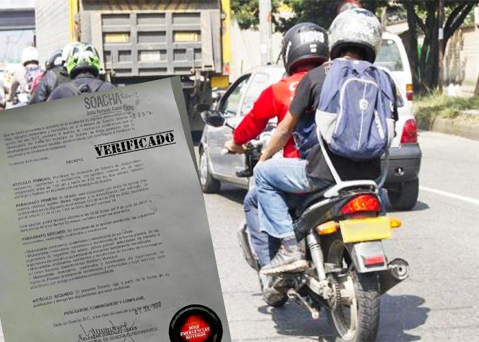 Ojo conductores: Empieza restricción a motociclistas en Soacha