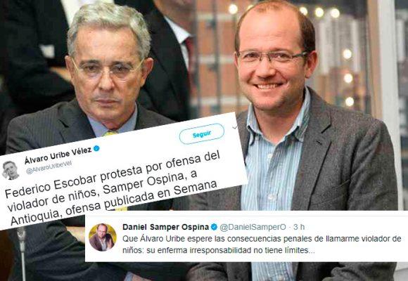"""A Uribe se le subió el tono en redes y llamó al periodista Daniel Samper, """"violador de niños"""""""