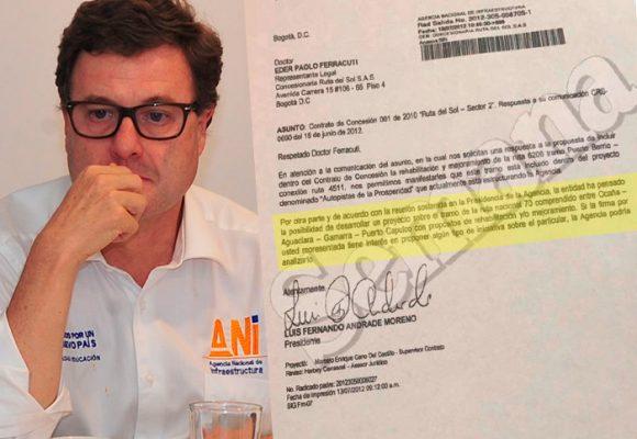 La carta a la Concesionaria Ruta del Sol que enreda a Luis Fernando Andrade
