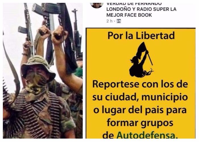 Uribistas hacen convocatoria en Facebook para rearmar grupos paramilitares
