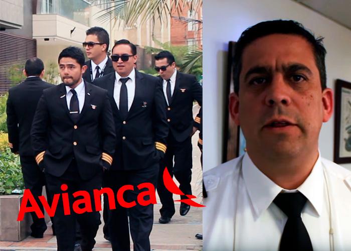 VIDEO: Con su impecable uniforme, los pilotos de Avianca dan la pelea desde tierra