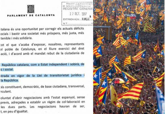 Con este decreto, Cataluña se declara Estado independiente. España dividida