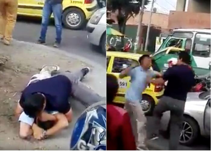 """VIDEO: """"Le están dando en la mula a un taxista por alzado"""": Conductores en Bogotá se van a los golpes"""