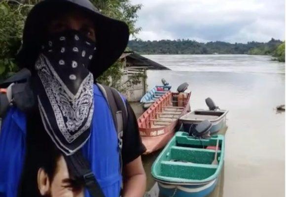 El encuentro del comandante Uriel del ELN en el Chocó en medio de 4 barcos de la Armada: VIDEO