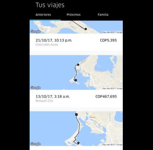 Uber cobró por una carrera en Cartagena $467.695