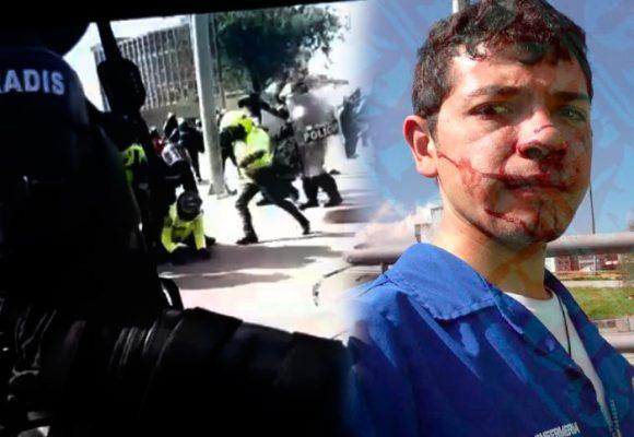 VIDEO: El Policía que pateó con sevicia la cara de un motociclista en Bogotá
