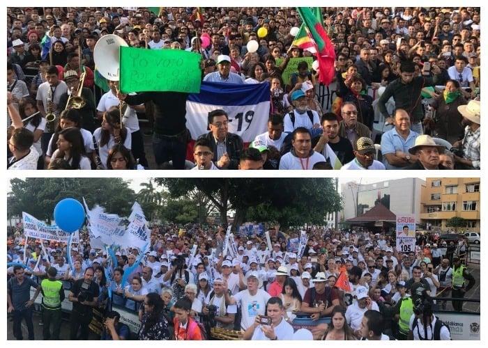 Dos jornadas triunfales de Uribe y Petro