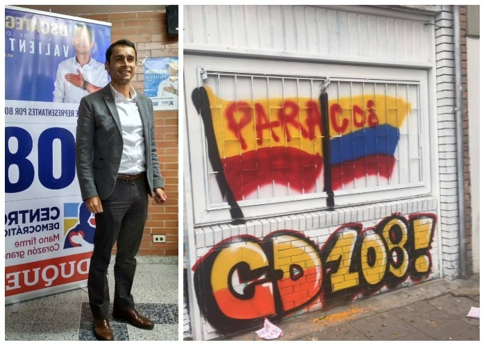 """Con letreros de """"paraco"""" atacaron la sede de José Jaime Uscátegui"""