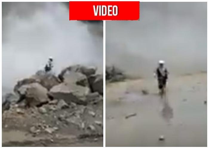 VIDEO: Momento exacto en el que el río Cauca casi se lleva a un empleado de Hidroituango