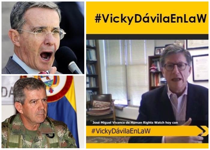 Vicky Dávila le pica la lengua a José M. Vivanco, que se riega contra Uribe y los militares