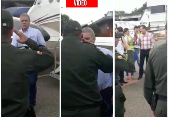 La Policía ya saluda a Iván Duque como si fuera Presidente
