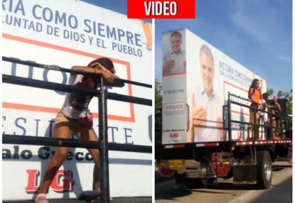 VIDEO: Chicas, pantaloncitos calientes y perreo en caravana de Iván Duque