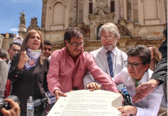 Todos los detalles del simbólico acto en que Mockus y Claudia López respaldaron a Petro