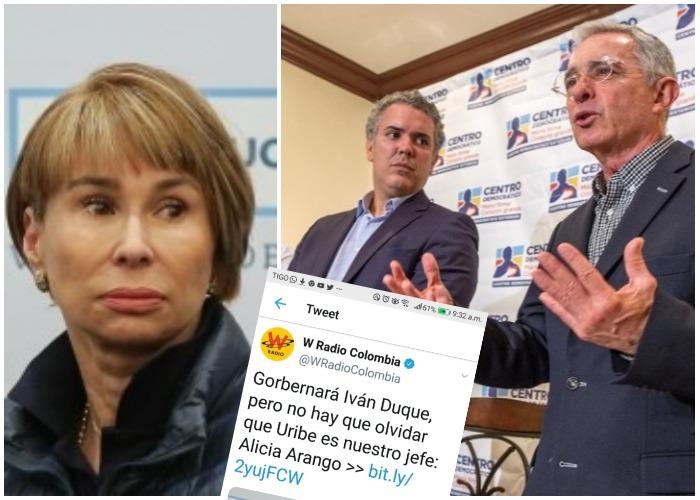 La verdadera frase de Alicia Arango, sobre Uribe y Duque, en La W