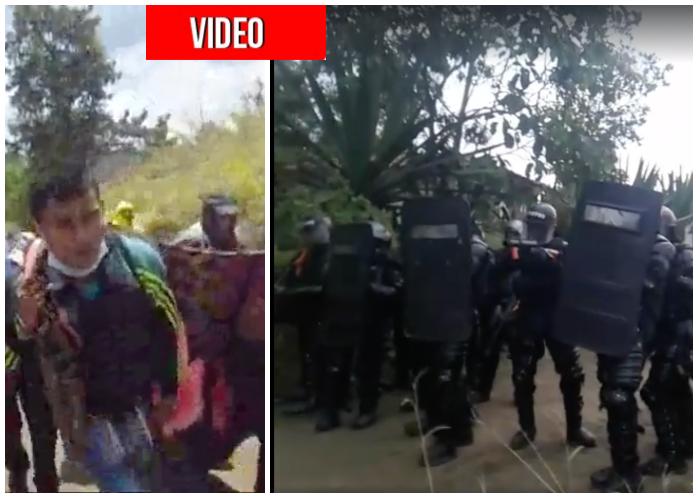 VIDEO: El ESMAD arrinconado y con fusiles contra indígenas del Cauca