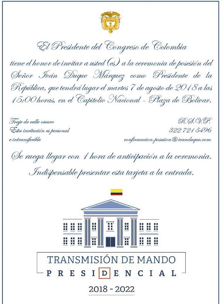 La Invitación De Duque A Su Posesión Las2orillas
