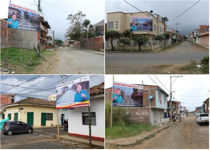 Obras con publicidad de promoción de servidor público en Santander de Quilichao