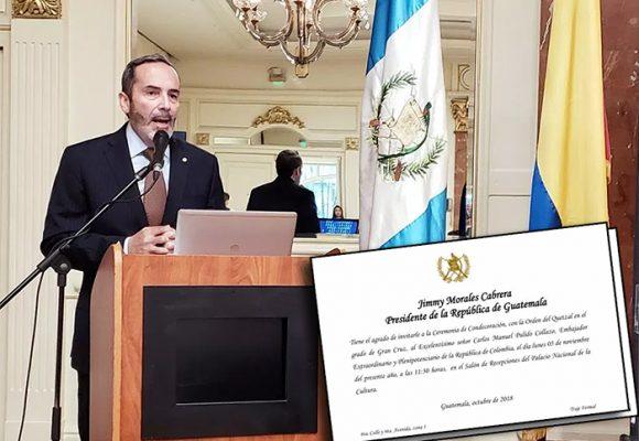 Polémica en Guatemala por condecoración al embajador de Colombia