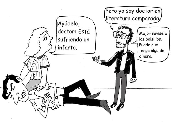 Caricatura: Vida de doctor… pero en literatura