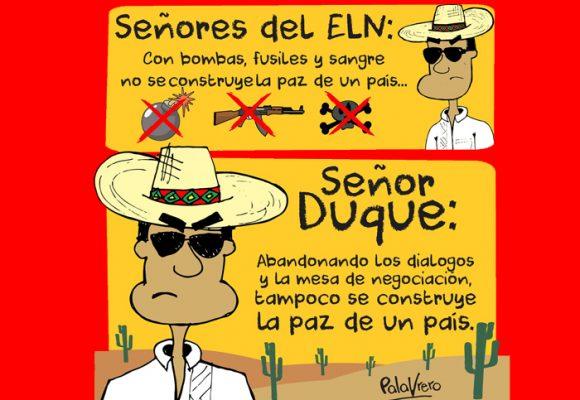 Caricatura: Presidente Duque y señores del ELN, así no se construye la paz