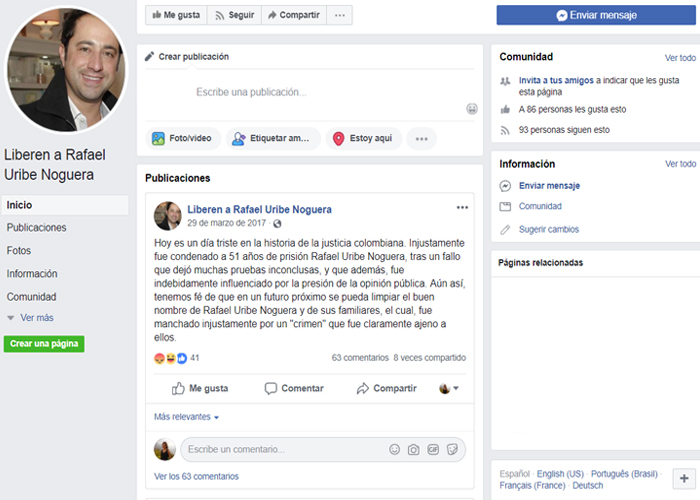 'Liberen a Rafael Uribe Noguera', la página de apoyo que Facebook aún no desactiva