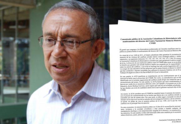Los historiadores hacen sentir su voz contra Darío Acevedo