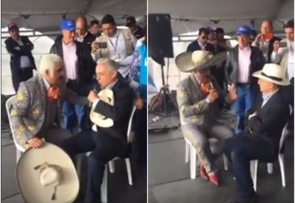 VIDEO: Vicente Fernández le vuelve a cantar a Álvaro Uribe