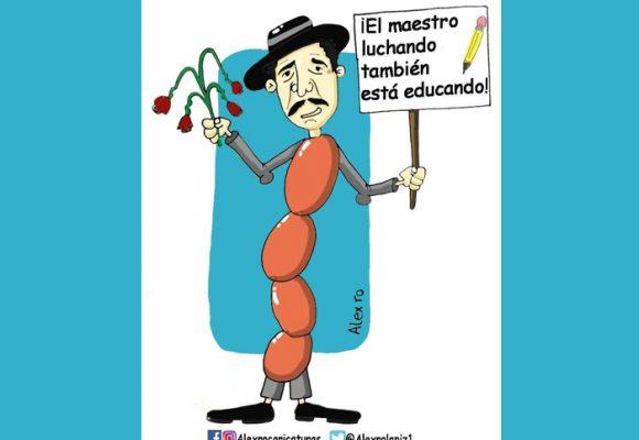 Caricatura: El maestro luchando también está educando