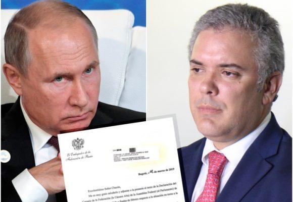 Duro cruce de cartas entre Colombia y Rusia