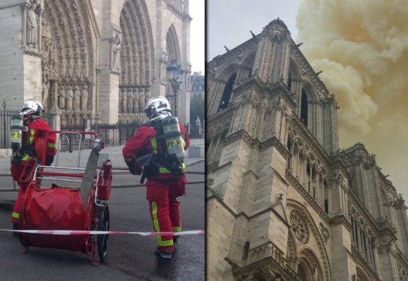 Arde la Catedral de Notre Dame, emblema de París