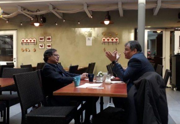Encuentro de Petro con Rafael Correa en medio de su gira europea