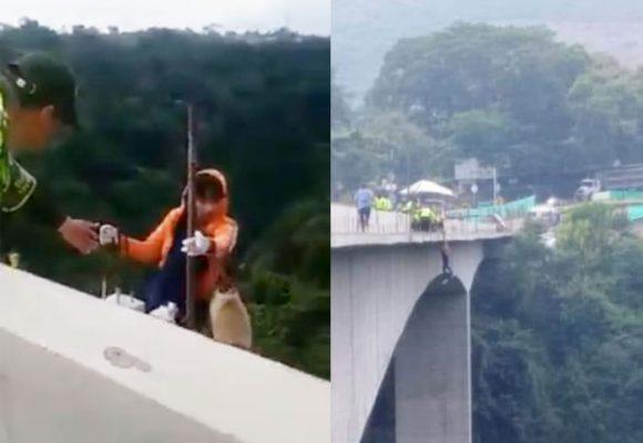 [Video] Policía logra salvar a joven al borde del suicidio en puente de Ibagué
