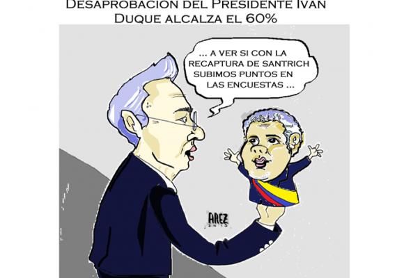 Caricatura: ¿Captura de Santrich, un empujón al presidente?