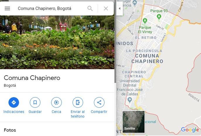 """En Google Maps le pusieron a Chapinero """"Comuna Chapinero"""""""