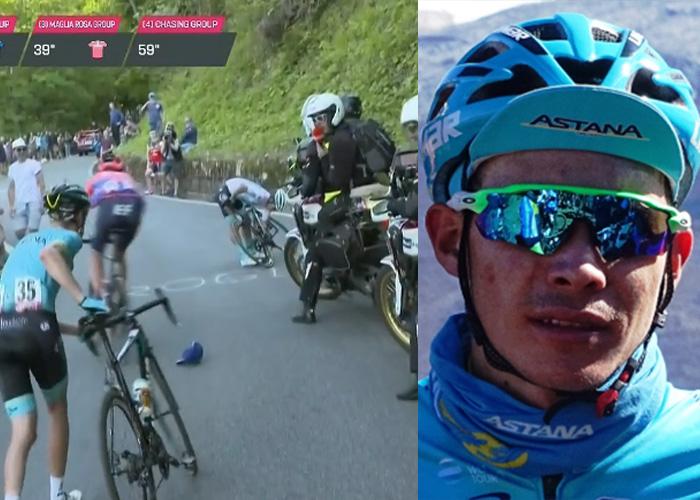 [Video] El imbécil que tumbó a Miguel Ángel López en el Giro