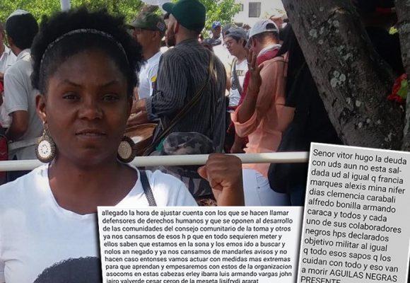 Ultimátum de las Águilas Negras a Francia Márquez