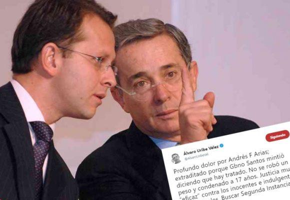 Uribe recibe a Andrés Felipe Arias con un triste trino