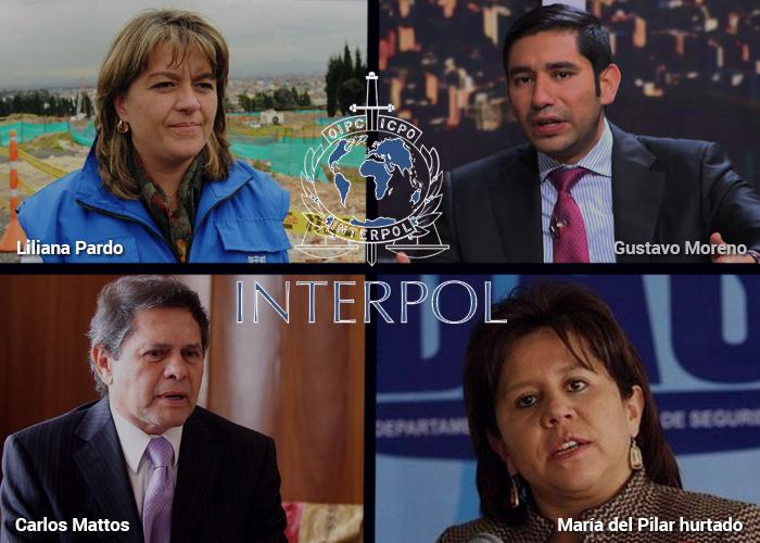Colombianos de cuello blanco con circular roja de Interpol