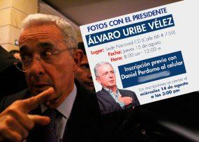 Sesión de fotos para aparecer con Uribe