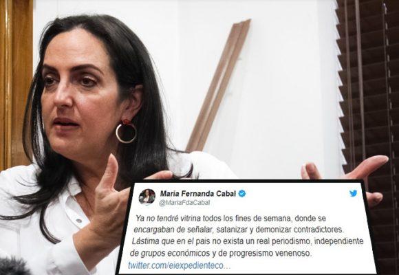 La alegría de Maria Fernanda Cabal por el cierre de Noticias Uno