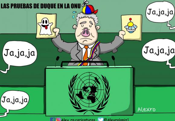 Caricatura: Las pruebas de Duque en la ONU