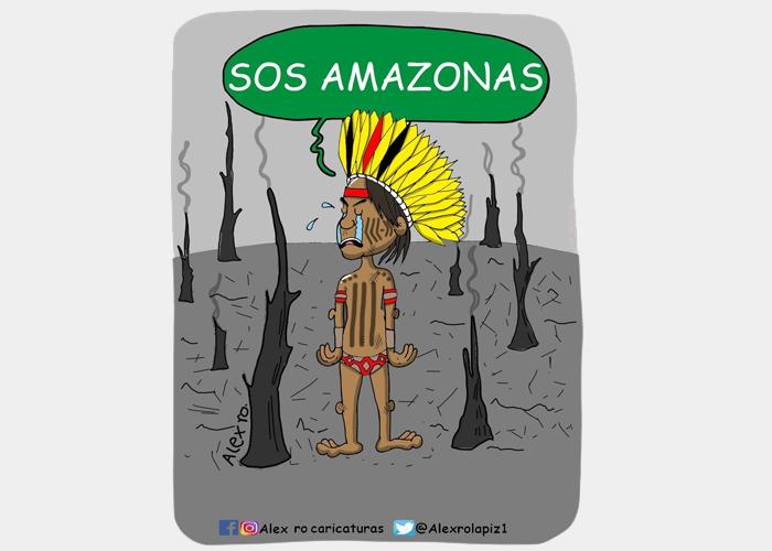 Caricatura: Un grito de ayuda por la Amazonia